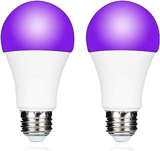 UV A19 7W LED Black Light Bulb, UVA Level 390-400nm,E26 Medium Base 100-240V, Glow in The Dark for Blacklight Party, Fluor...