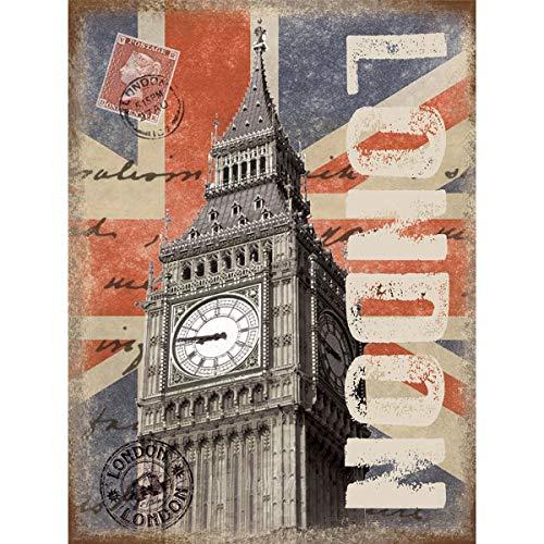 SIGNCHAT Londen Post Card Big Ben City Union Jack Vlag Stempel, Kleine Metaal/Tin Teken Metalen Tin Teken 8X12 inch