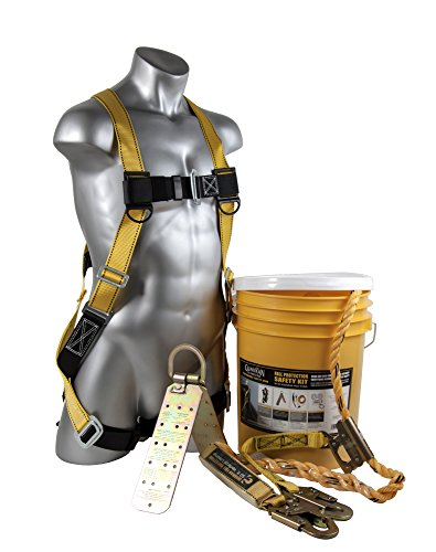 Guardian Fall Protection (Qualcraft) 00815 BOS-T50 Bucket of Safe-Tie with Temper Anchor, 50-Foot Vertical Lifeline Assembly and HUV , Yellow