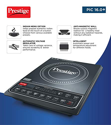 Prestige PIC 16.0+ 1900- Watt Induction Cooktop with Push button,Black
