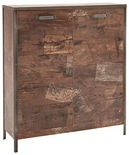 Schildmeyer Schuhschrank Chicago mit zwei gedämpften Türen, Melaminharzbeschichtete Spanplatte, Panama Eiche, 33.6 x 117.3 x 119 cm