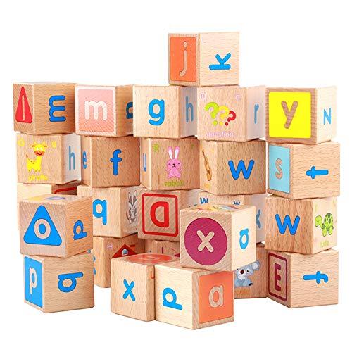 FEZBD Bausteine, Holzstapelbox Regenbogen-Farben, Alphabet Nesting und Sortier Cups mit Nummer -Stacking Würfel pädagogischen Spielzeug für 2 Jahre alt