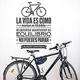 Spanisches Wandtattoo Das Leben Ist Wie Fahrrad Fahren Spanische Vinyl Wandtattoos Heimtextilien Schwarz 78Cmx56Cm