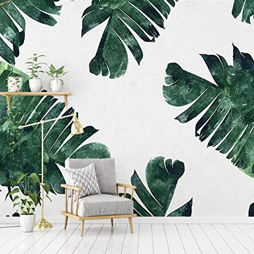 Behang 3D Mural Plakken Border TV Achtergrond Muur Nordic Plant TV Moderne Minimalistische Vers Groen Blad Bank Slaapkamer Behang Muurschildering Wallpaper 350cm×256cm