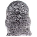 TIDWIACE® Grau Faux Lammfell Schaffell Teppich Longhair Fell Nachahmung Wolle Bettvorleger Sofa...