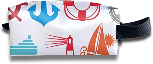 Nautical And Marine Icons_226 Makeup Bag Cute, Stylish Cosmetic Bag for Women Travel Toiletry Bag Organizer