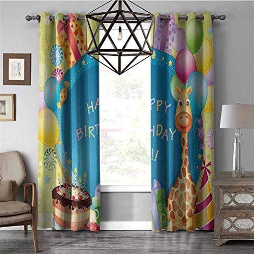 RenteriaDecor Neo-Classical Curtains Kids BirthdayCongratulation Best Wishes on The Blue Color Backdrop Party Balloons Print Room Darkening Blackout Drapes,bunk Bed Curtains Multicolor W96 x L84 Inch