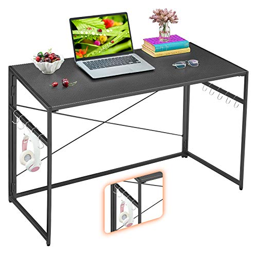 """Mr IRONSTONE 39.4"""" Folding Computer Desk, Writing Desk Easy Assembly with 10 Hooks, Foldable Metal Frame, Writing Workstation Laptop Table for Home Office"""