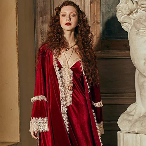 STJDM Nachthemd,Robe Damen Romantische Robe Set Frauen Nachthemd Winternachtkleid Nachtwäsche Elegante Braut Wein Rot Bademantel Vintage L.