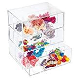 mDesign Plastic Hair Accessory Organizer Storage Station Cube, 3 Drawers for Bathroom Vanity, Cabinet, Countertops - Holds Bows, Clips, Rubber Bands, Head Bands, Bobby Pins - 27 Sections - Clear