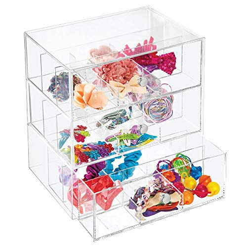 mDesign Contenitore a scomparti in plastica e metallo – Beauty case con 3 cassetti per elastici, mollettine e accessori per capelli – Organizer da bagno con 27 scomparti – trasparente
