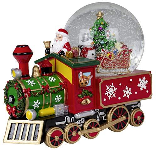 Christmas Paradise Weihnachts-Deko Zug Schneekugel mit Mechanischer Spieluhr Dekoration Weihnachtsmann 22cm Bunt