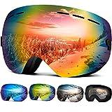 Wantdo Ski Goggles Frameless Spherical Snowboard Goggles Red N,VLT 16.87%