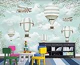 3D Murales Papel Pintado Pared Calcomanías Decoraciones Dibujos Animados De Avión De Globo De Aire Caliente Patrón De Fondo Arte Habitación Para Niños (W)200x(H)140cm