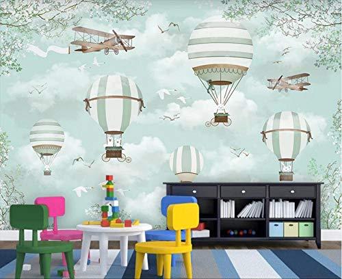 MKmd-s Theme Room Hotel KTV Hotel Restaurant 3D Mural, Hot air Balloon Plane Cartoon