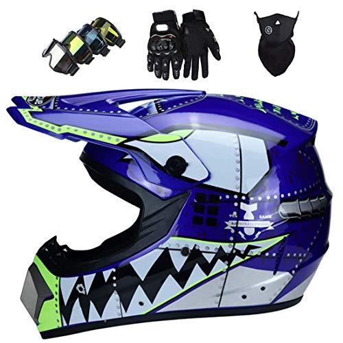 Casco moto para niños con máscara guantes gafas,Conjunto casco MTB cara completa para adultos,Casco cruzado motocross todoterreno para bicicleta montaña eléctrica ATV MX Dirt Bike,Certificación DOT