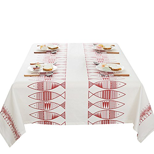européenne Poisson Rouge Coton nappes rectangle Nappe Housse, 100 x 140 cm, Tissu, 140*180CM