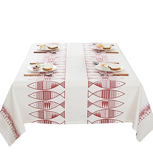 européenne Poisson Rouge Coton nappes rectangle Nappe Housse, 100 x 140 cm, Tissu, 140*200CM