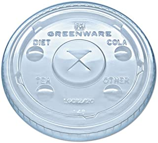 Fabrikal LGC12/20 Greenware Clear Straw Slotted Lid for 9, 12, 20 oz. Greenware Clear Plastic Cup - 1000 / Case
