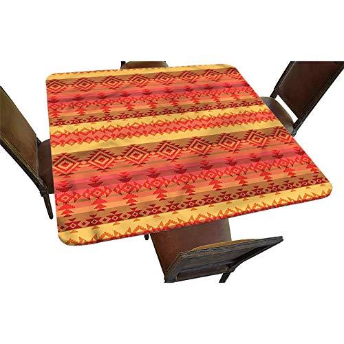 Mantel cuadrado decorativo con bordes elásticos, diseño de rombos auténticos de poliéster para interiores y exteriores, para fiestas, bodas, mesa cuadrada de hasta 91 cm