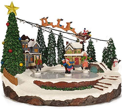 TIN DREAMS FACTORY - Pueblo navideño, Pueblo Navidad, Christmas Village, Escena Patinadores, Movimiento, LED, Cargador.