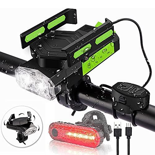 Oyeeice 5 in 1 LED Fahrradlicht Set, USB Aufladbar Fahradlicht Set, IP65 Wasserdicht Haben DREI Beleuchtungsmodi Können als Fahrradbeleuchtung, Mobilstrom,Handyhalterung, Lautsprecher, (4200 mAh)