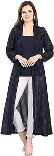 Serein Women's Jacket/Shrug (Dark Blue Front Open Georgette Long Shrug)