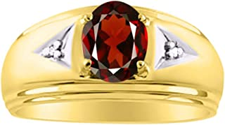 RYLOS Mens Classic Oval Gemstone & Genuine Sparkling Diamond Ring in 14K Yellow Gold Plated Silver .925-8X6MM Color Stone