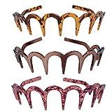 Minkissy diadema de zig zag diadema de dientes de tiburón dientes de resina peine aro de pelo banda para el cabello accesorios para el cabello para mujeres damas niñas 3 piezas (estilo 1)