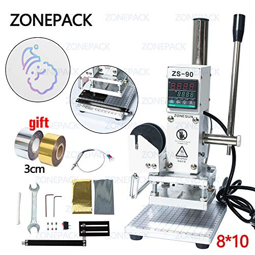ZONEPACK 8x10cm Digital Embossing Machine Hot Foil Stamping Machine Manual Tipper Stamper Heat Press Machine for PVC Leather Pu and Paper Stamping with Paper Holder and Scale Branding on Masks