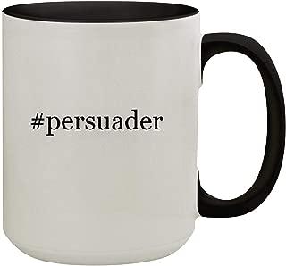 #persuader - 15oz Hashtag Colored Inner & Handle Ceramic Coffee Mug, Black