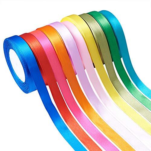 Beadthoven 16 mm Satinband, gewebtes Seidenband, 10 Farben, für Schleifen, Haarbänder, Basteln, Valentinstag, Geschenkverpackung, Nähen, Party, Hochzeit, Dekoration