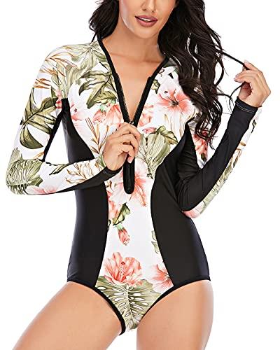 FEOYA Maillot de Bain Femme 1 pièce Combinaison de Bain Amincissant Monokini pour Natation Plongée Plage Sport Aquatique Compétition S-XXL