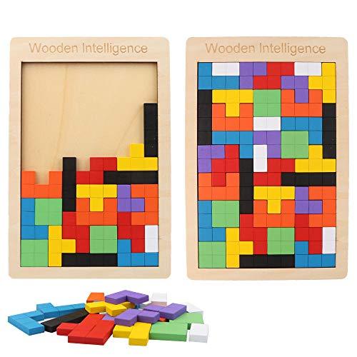 Vegena Tetris - Puzzle in legno per bambini, 2 confezioni di puzzle in legno colorato Tangram per bambini, con scatola puzzle in legno, forme geometriche