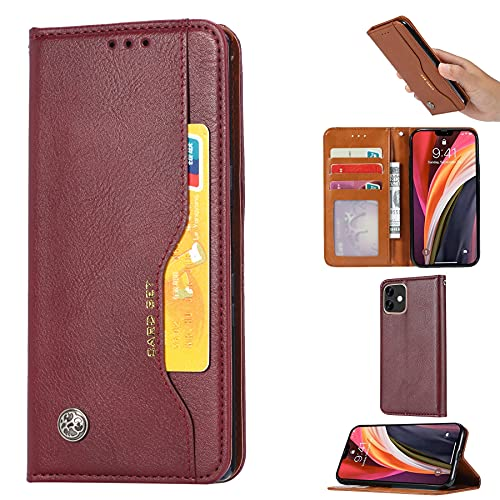 SZCINSEN Funda de piel tipo cartera para iPhone 12 Mini (5,4 pulgadas) con ranura para tarjetas, función atril, carcasa interior de TPU suave a prueba de golpes (color vino tinto)