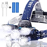 Headlamp, Brightest【21 LED 】9 Modes Work Headlamp, USB Rechargeable Waterproof Headlight Flashlight for Outdoor Camping, Cycling…