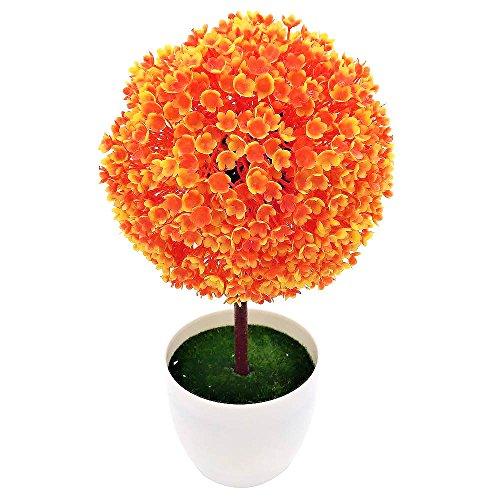 HuntGold Kugelform Mini Künstlich Baum Haus Deko Pflanzen Blumentopf Ornament Topf Kunststoff Orange