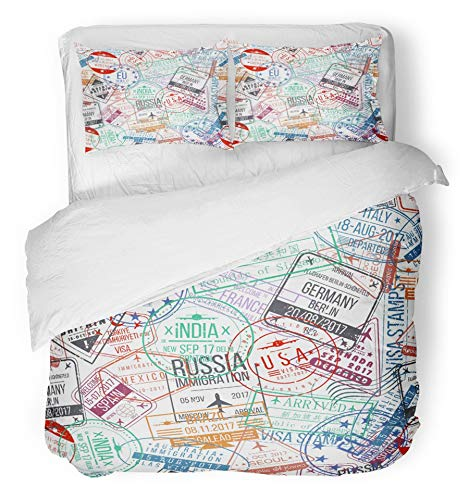 Emvency 3 Piece Duvet Cover Set Breathable Brushed Microfiber Fabric Travel Passport Stamp International Arrivals Sign Rubber Visa Trip Airport Bedding with 2 Pillow Covers Full/Queen Size