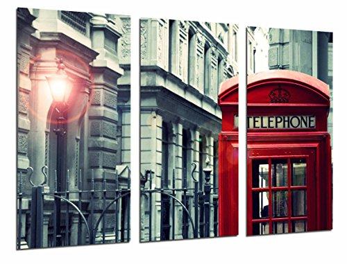 Cuadro Fotográfico Ciudad Londres, Cabina Telefono Roja, Blanco y Negro, Tamaño total: 97 x 62 cm XXL