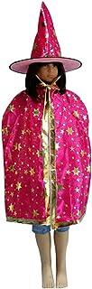 koiry Sombrero de Bruja de Halloween Capa Conjunto Disfraz Fiesta Decoración de la Estrella del Brillo Sombrero de Bruja C...