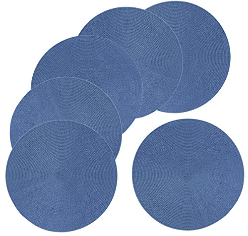 Mainstays 15-Inch Braided Round Placemat 6-Pack, Blue