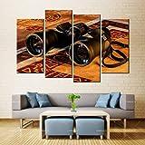 N / A Lienzo Pintura Mural Arte binoculares Lente Brillo Dorado Reflejo inyección de Tinta Tinta Impermeable decoración del hogar