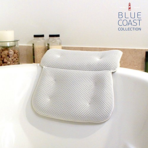 Blue Coast Collection–Bath Pillow for Tub with Konjac Sponge–Large Size for Bathtub,...