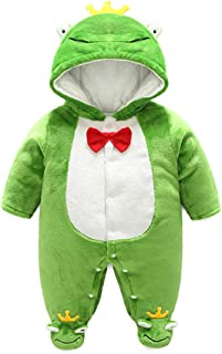 KKING Newborn Baby Boy Girl Winter Flannel Jumpsuit Outfit Hooded Onesie Thick Bodysuit Romper Cartoon Animal Coat for 0-12 Months (Frog, for Baby Height 59cm)
