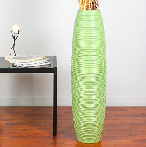 Leewadee jarrón Grande para el Suelo – Florero Alto y Hecho a Mano de Madera exótica, Recipiente de pie para Ramas Decorativas, 75 cm, Verde