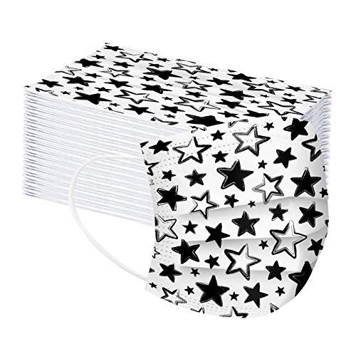 ma_scarillas Des_echables di_bujos para Adultos 50 Unidades Papel de Filtro Industrial Transpirable de 3 Capas con Correas elásticas para los oídos Negro + Blanco, patrón de Estrella