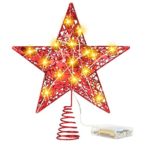 Christmas Tree Star Topper Lights 8in Hollow-out Glitter Treetop Lamp with LED String Xmas Party Wedding Halloween Festival Home Seasonal Decoration Red