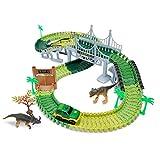 JZK Set Gioco Pista Flessibile per macchinine Auto Pista da Corsa con Giocattoli Dinosauri Jurassic World Regalo Compleanno per Bambini Ragazzi Ragazze