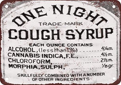 1888TOS jarabe Cannabis, Cloroformo y morfina aspecto Vintage reproducción Metal Tin Sign 8x 12pulgadas