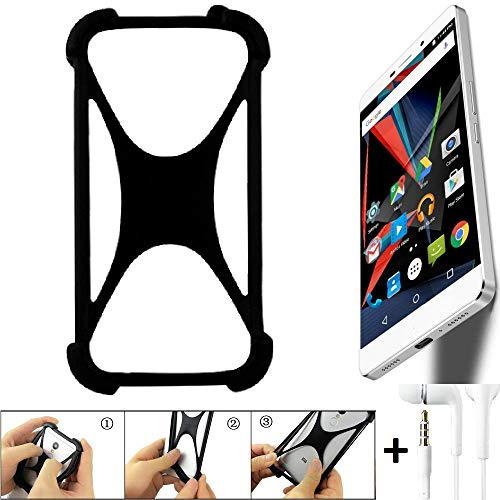 K-S-Trade® Handyhülle Für Archos Diamond 2 Plus Schutzhülle Bumper Silikon Schutz Hülle Cover Case Silikoncase Silikonbumper TPU Softcase Smartphone, Schwarz (1x), Headphones